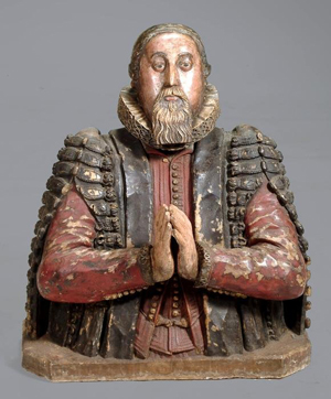 Circa-1615, James I sculpted and painted alabaster bust believed to be a depiction of the eminent 17th-century botanist and physician Dr. Peter Turner. Entered in Dreweatts' April 14 auction with an estimate of $75,000-$105,000. Image courtesy Dreweatts.