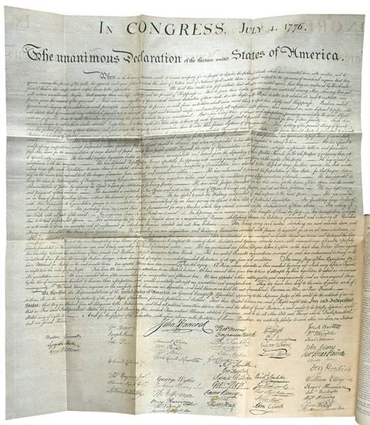 A superb facsimile of the Declaration of Independence is the highlight of a complete nine-volume set 'American Archives.' The compilation of important American documents and records, published by Peter Force from 1837 to 1848, has a $12,000-$18,000 estimate. Image courtesy PBA Galleries.