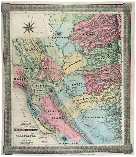 W.A. Jackson's 1851 'Map of the Mining District of California' was considered to be the best map of the gold region published at that time. The large-scale map measures 22 3/4 by 19 3/4 inches. It is expected to sell for $10,000-$15,000. Image courtesy PBA Galleries.
