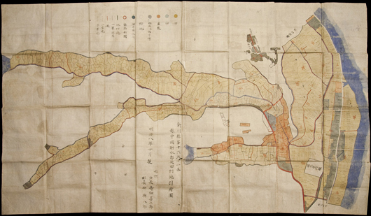 An ink and watercolor on paper map of Yada village in the Fushiki region, Ecchu province, in Japan, designates a plan for rice fields. The rare map, which dates to the mid-19th century, measures 58 1/4 inches by 98 1/2 inches. It carries a $12,000-$15,000. Image courtesy PBA Galleries.
