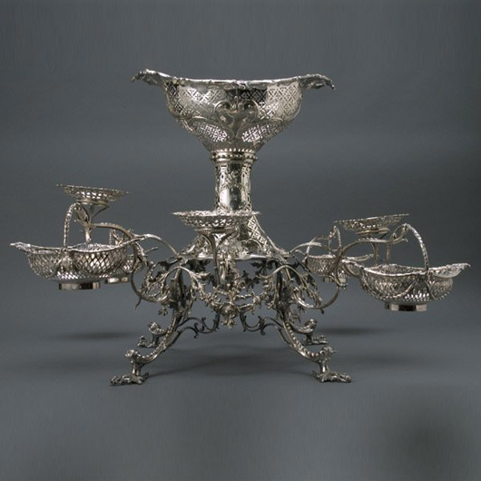 Edinburgh silversmith Robert Wilson made this George III sterling epergne circa 1792. Weighing 160 troy ounces, the 19 1/2-inch-tall epergne has a $15,000-$$20,000 estimate. Image courtesy Michaan's Auctions.