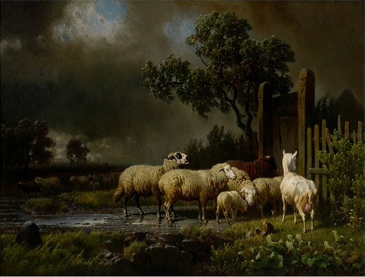 'Sheep and a Goat in Landscape' is after Eugene Verboeckhoven (Belgium, 1799-1881). The dramatic painting is oil on canvas, 33 1/2 by 43 1/2 inches. It is signed lower right 'Eugene Verboeckhoven 1849.' It carries a  $20,000-$30,000 estimate. Image courtesy Michaan's Auctions.