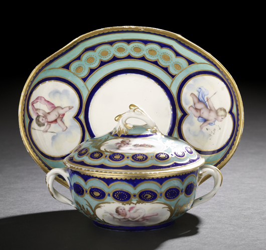 This Sevres covered bowl and underplate decorated with putti bears the date letter for 1767. The porcelain set, which once belonged to ceramics collectors Leo and Doris Hodroff, sold for $2,280 at the New Orleans Auction Galleries in January. Courtesy New Orleans Auction Galleries.