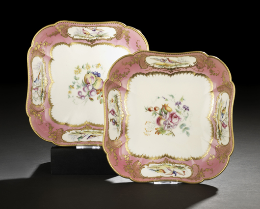 Sevres began making their famous pink ground in the mid-18th century. These squared bowls with flowers and birds date to around 1790. Ex-Hodroff Collection, the pair sold for $1,140 in January. Courtesy New Orleans Auction Galleries.