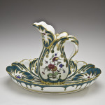A soft-paste Sevres Waterleaf ewer and bowl, 1759-1769, is one of the stars in the 'Sevres Then and Now' exhibition at the Hillwood Museum in Washington, D.C., through May 30. Courtesy Hillwood Estate, Museum & Gardens.