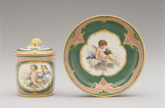 On display in the 'Sevres Then and Now' exhibition, this covered cup and saucer from a tea service displays a combination of green and pink grounds fashionable when it was made in 1759-1760. Courtesy Hillwood Estate, Museum & Gardens.