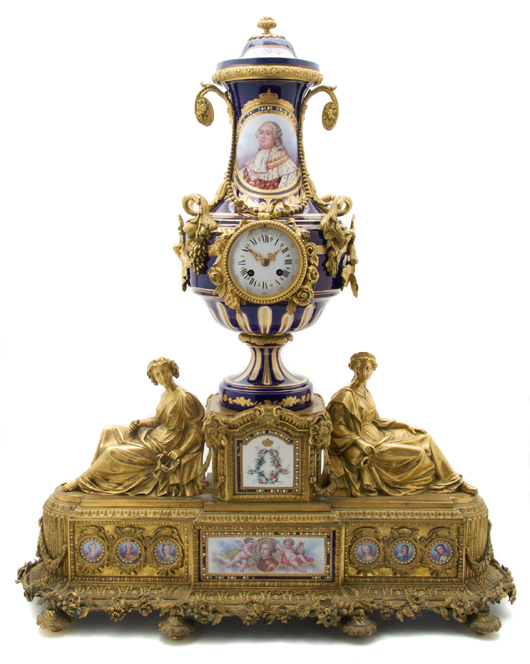 International demand continues for ornate objects decorated with Sevres-style porcelain, and they command high prices. This gilt bronze clock with a portrait of Louis XVI, second half of the 19th century, sold at a Leslie Hindman auction in January for $31,720. Courtesy Leslie Hindman Auctions, Chicago.