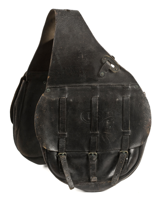 M1885 leather U.S. saddlebags, displaying the U.S. stamp and maker's name, sold for $633 in April 2009 at Cowan's. Image courtesy Cowan's Auctions.