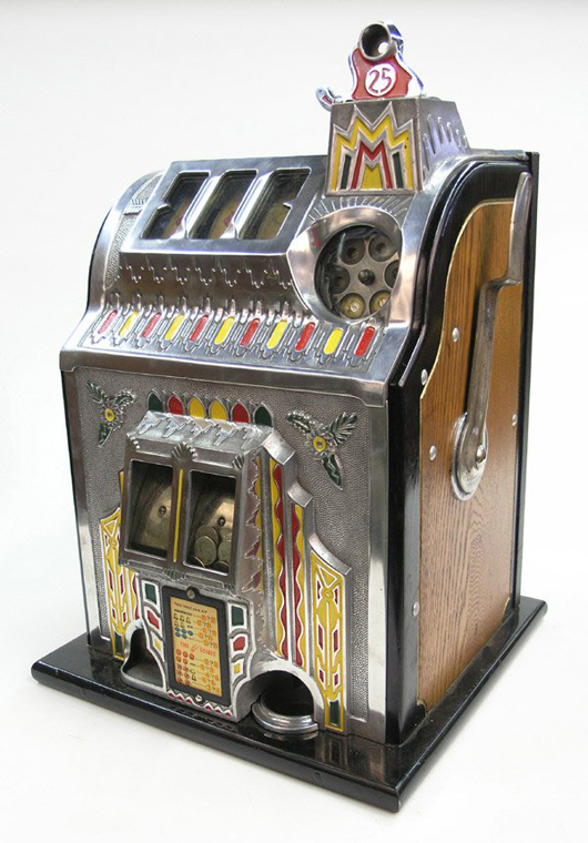 A nickel-plated front highlights this 25-cent Fancy Front Double-Jackpot slot machine by Pace. This 1940s mechanical slot sold for $2,500 plus premium in 2007. Image courtesy Clars Auction Gallery and LiveAuctioneers archive.