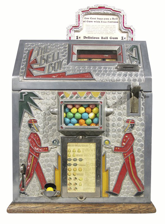 The Bell Boy slot machine circumvented gambling laws by dispensing gumballs and award cards to winners. Made by Mills in the 1930s, this machine sold for $2,250 plus premium in 2006. Image courtesy Morphy Auctions and LiveAuctioneers archive.