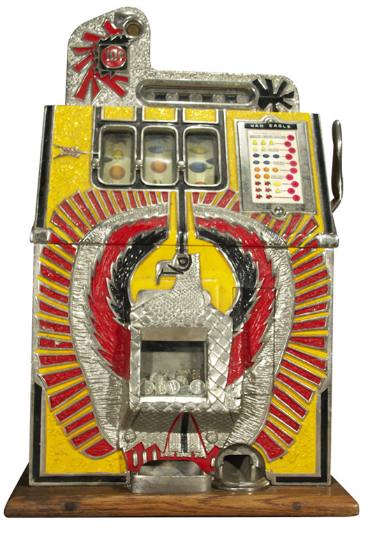 Mills' 1938 War Eagle is a classic mechanical slot machine. This 10-cent version sold for  $2,500 plus auction premium in 2005. Image courtesy Morphy Auction and LiveAuctioneers archive.