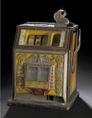Original polychrome paint highlights this one-cent Watling Treasury Bell slot machine from the mid-1930s. It sold for $2,100 plus premium in 2008. Image courtesy Cowan's Auctions and Live Auctioneers archive.