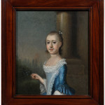 When sold in 1980, this oil on canvas portrait of Amarinthia Elliott attributed to Jeremiah Theus was titled, Miss Elliott of Charleston, SC. That's when Jim Williams purchased it at C.G. Sloan's Auctioneers. Williams sold the painting to Tom Gray through an agent. The portrait went to a phone bidder for $94,400, a new record for the artist.