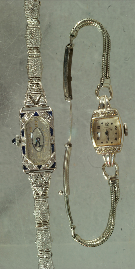 18K white gold Art Deco ladies wristwatch, case set with blue sapphires and diamonds. Offered together with Elgin 14K white gold ladies wristwatch. Estimate $300-$500. Image courtesy William Bunch Auctions.