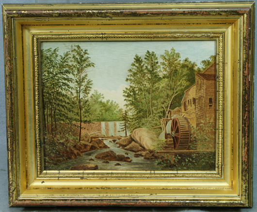 George Cope (American, 1855-1929), Wooden Mill, oil on board, 7¼ inches by 9½ inches. Estimate $5,000-$7,000. Image courtesy William bunch Auctions.