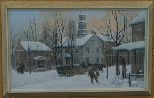 Barclay Lawrence Jacob Rubincam (American/Chester County, Pa.; 1920-1978), Turks Head, East Side, High and Market. Pastel, painted in 1974, 20 inches by 40 inches. Estimate $15,000-$25,000. Image courtesy William Bunch Auctions.