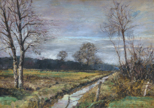 This oil on board wintry landscape by Tonalist painter Dwight William Tryon (American, 1849-1925) is expected to earn $7,000-$10,000. Image courtesy Clars Auction Gallery.