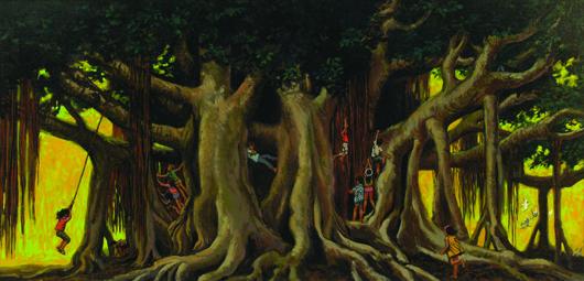 'Under the Banyan Tree' by Hawaiian artist Herb Kawainui Kane carries a $10,000-$12,000 estimate. Image courtesy Clars Auction Gallery.