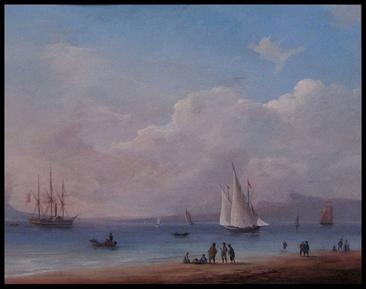 Ivan Konstantinovich Aivazovsky (Russian, 1817-1900), View in the Bay of Naples, signed and dated 1856. Courtesy William Jenack. Courtesy William Jenack Estate Appraisers & Auctioneers.