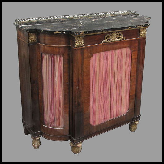 Fine 19th-century Regency carved and gilt rosewood marble-top commode.