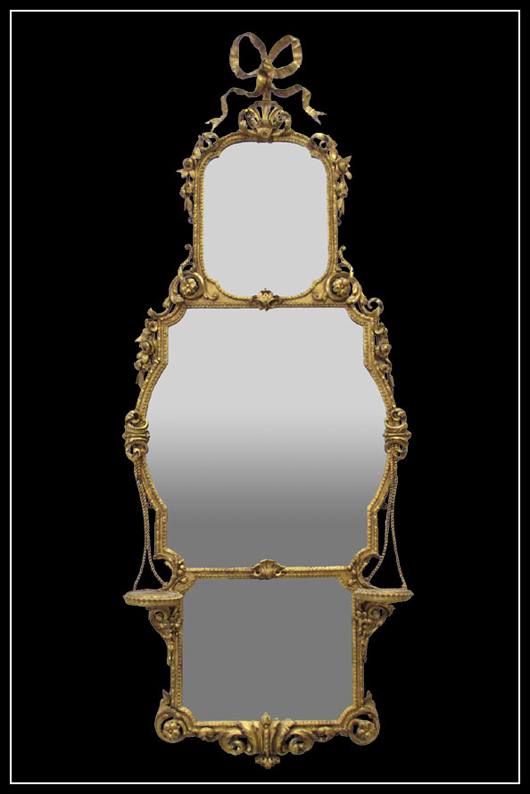 Federal carved, gilt mirror, 31 1/4 inches by 18 inches.