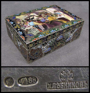 Important 19th-century Russian enameled silver box, signed I.P. Khlebnikov. Courtesy William Jenack Estate Appraisers & Auctioneers.