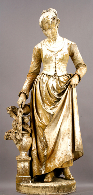Continental life-size carved marble garden statue of a young woman, circa 1860, (estimate: $6,000-$8,000). Image courtesy Kamelot Auctions.