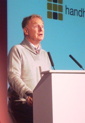 Malcolm McLaren, lecturing in October, 2009. Photo by Steve Wheeler, Plymouth, England.