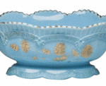 This Chrysanthemum Sprig master berry bowl, 5 by 8 by 10 inches, is referred to as