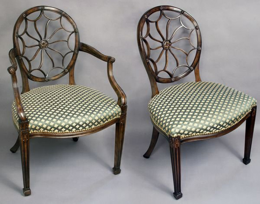 Set Of Eight Hepplewhite Style Dining Chairs, Including Six Side Chairs And  Two Armchairs