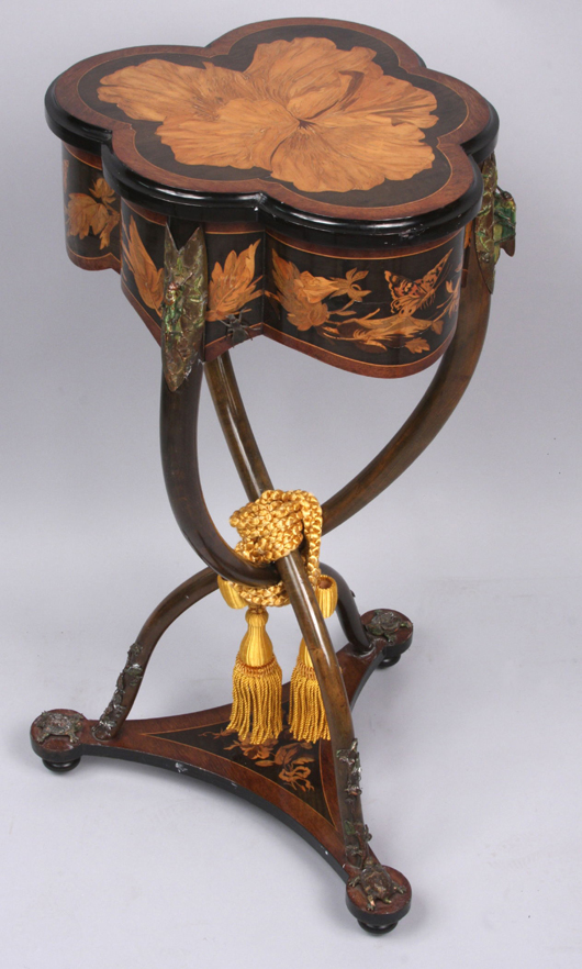Circa 1878 Emile Galle Sewing Stand With Marquetry And Figural Bronze  Details (est. $15,000