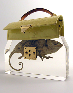 Ted Noten, 'Grandma's Bag Revisited,' 2009. Louis Vuitton bag, acrylic, chameleon. Height 30cm, width 35cm, depth 6cm. To be exhibited at Collect 2010 at the Saatchi Gallery, May 14-17. Courtesy Galerie Rob Koudijs. Photo: Atelier Ted Noten.