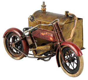 Extremely rare live-steam 'Indian' motorcycle, 8 inches long, believed to have been made by prewar Japanese maker C-K. Sidecar serves as boiler. $8,000-$12,000. Dan Morphy Auctions image.
