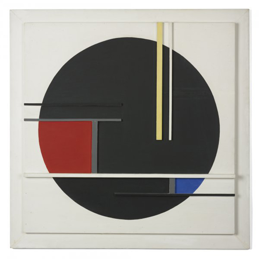 Wright's auction will begin with 'Composition No. 36,' considered a seminal example of Jean Gorin's work. Kazimir Karpuszko acquired the 1960 work directly from the artist. The enamel on panel painting is 40 1/2 inches square and has a $15,000-$20,000 estimate. Image courtesy of Wright.