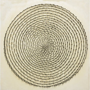 Guenther Uecker's untitled work of nails and canvas on wood measures 31 3/4 inches square. It carries a $150,000-$200,000 estimate. Image courtesy of Wright.