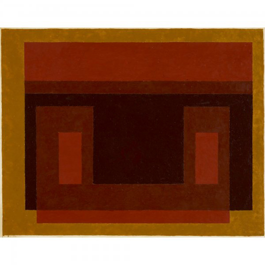 Josef Albers painted 'Ochre Around Red + Browns' in 1947 as part of his Variants series.  The painting is oil on blotting paper mounted to aluminum. It is 15 1/4 inches high by 19 1/4 inches wide and carries a $100,000-$150,000 estimate. Image courtesy of Wright.