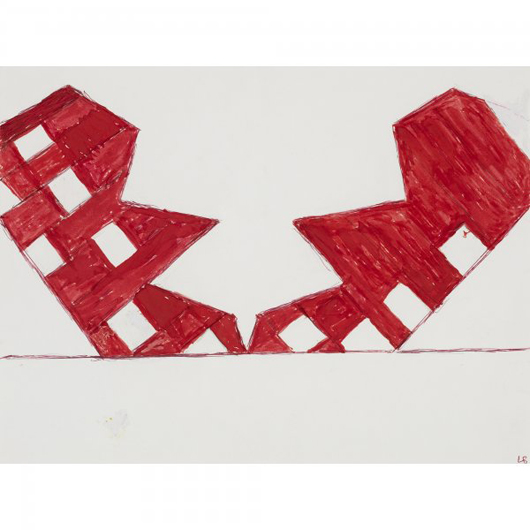 Louise Bourgeois signed 'House Struck by a Lightning Bolt' on the lower right 'LB.' The ink and graphite on paper, 9 inches by 12 inches, has a $20,000-$30,000 estimate. Image courtesy of Wright.