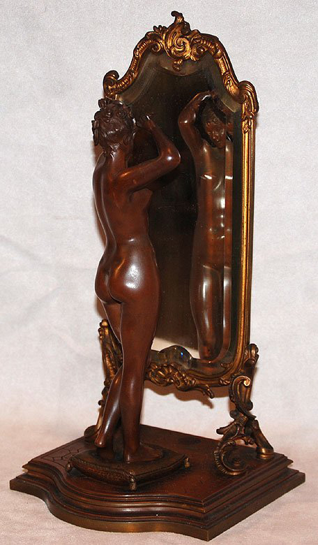 Bronze figures in the auction include this Art Nouveau beauty by Emile Pinedo (French, 1840-1916). The patinated bronze nude is 9 3/4 inches high, 13 1/2 inches high overall.  It has a $2,500-$3,500 estimate. Image courtesy of Bill Hood & Sons Art & Antiques Auctions.