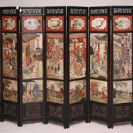 Four dozen separate scenes are painted on marble on this 19th-century Chinese eight-panel screen. The wooden frame is 54 inches high by 84 inches long. It has a $5,000-$10,000 estimate. Image courtesy of Bill Hood & Sons Art &Antiques Auctions.