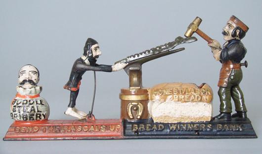 Circa-1886 J. & E. Stevens Breadwinners cast-iron mechanical bank, in bright, near-mint condition, estimate $90,000-$120,000. RSL Auction Co. image.