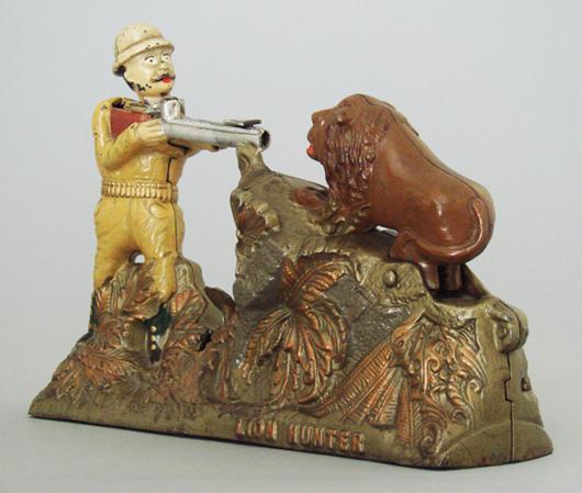 Lion Hunter mechanical bank, near-mint condition, estimate $25,000-$35,000. RSL Auction Co. image.
