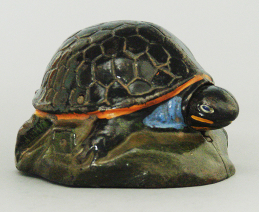 Circa-1930 Kilgore cast-iron Turtle bank, formerly in the collections of Stan Sax and Gertrude Hegarty, estimate $50,000-$70,000. RSL Auction Co. image.