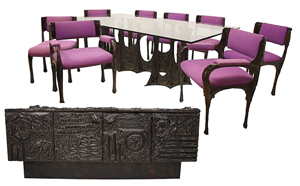 """Paul Evans (American, 1931-1987) 10-piece sculpted bronze dining suite, made in 1970 featuring Stalagmite glass-top dining table, set of eight dining chairs with purple micro-suede seats and backrest; sideboard with two slate tablets and bi-fold doors concealing interior shelves. Signed """"PE 70."""" Offered as three lots, total selling price: $59,225. Austin Auction image."""