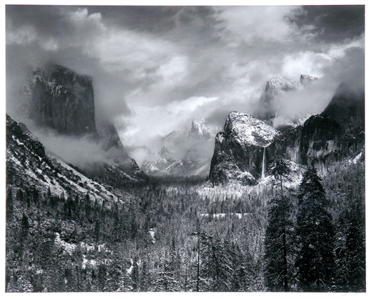 """This framed silver gelatin photograph by Ansel Easton Adams (California,  1902-1984) entitled """"Clearing Winter Storm, Yosemite is expected to earn $50,000 to $70,000."""