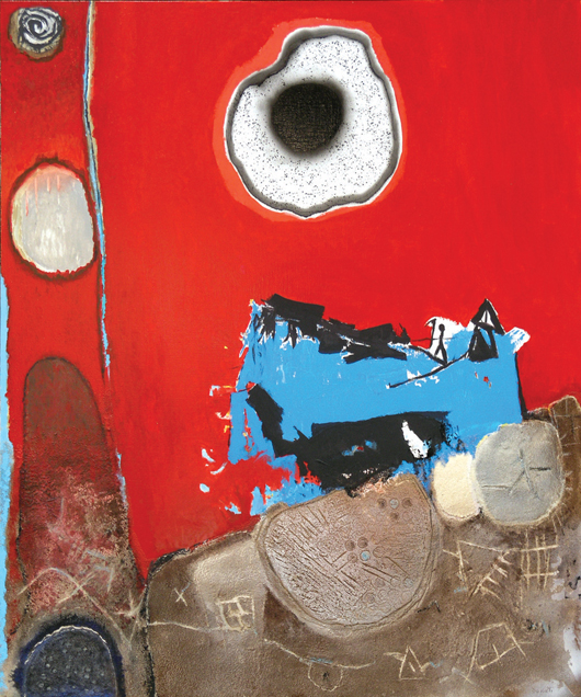 """Coming from abstract expressionist Enrico Donati (New York, 1909-2008) will be this mixed media on canvas """"Eclipse Annee 2000"""" estimated to bring $40,000 to $60,000."""