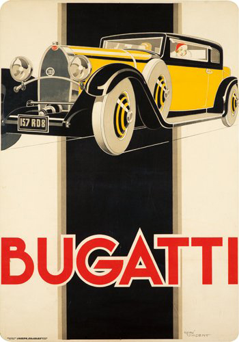 René Vincent (1879-1936) had a passion for elegance in posters and with the Bugatti T46 he had the perfect subject. With slight tears and stains at the edges, this poster has a $15,000-$20,000 estimate. Image courtesy of Poster Auctions International.