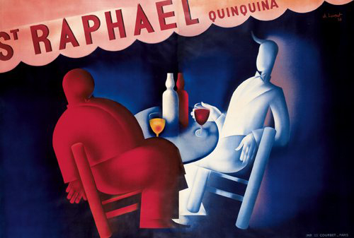 Charles Loupot (1892-1962) created this two-sheet poster for aperitif producers St. Raphaël/Quinquina. The rare poster has a $40,000-$50,000 estimate. Image courtesy of Poster Auctions International.