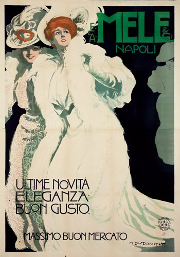 Marcello Dudovich (1878-1962) established himself as Italy's premier posterist, largely as through posters for the store Mele & Ci. This refined yet lively poster has a $20,000-$25,000 estimate. Image courtesy of Poster Auctions International.