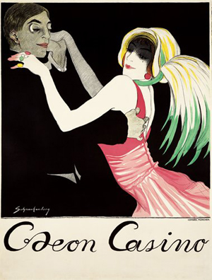 Walter Schnackenberg (German, 1880-1961) devoted much of his work to poster art. His depiction of a couple dancing at the Odeon Casino has a $25,000-$30,000 estimate. Image courtesy of Poster Auctions International.