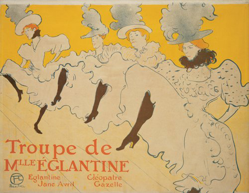 Toulouse-Lautrec (1864-1901) created this poster for Troupe de Mlle Eglantine at the request of Jane Avril, one of the cancan dancers. Graded an A- for slight edge staining, the poster is expected to sell for $40,000-50,000. Image courtesy of Poster Auctions International.